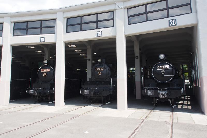 扇形車庫には各SLの定位置が決まっているが、検査やC57形1号機のように夏期はこちらにいない車両もある