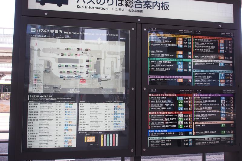 京都駅前のバス案内図、京都鉄道博物館方面はB3乗り場が主になりそう