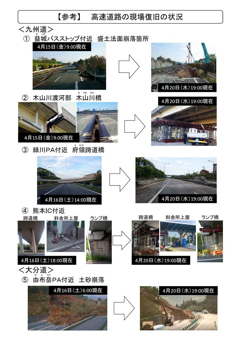 九州道、大分道の現場の復旧状況(4月20日19時時点)