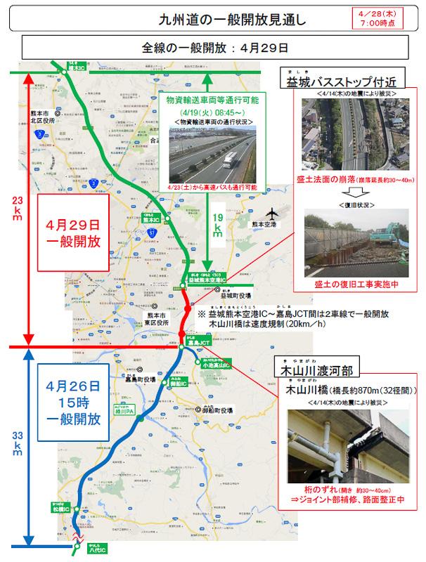 4月28日現在の九州道一般開放の見通し