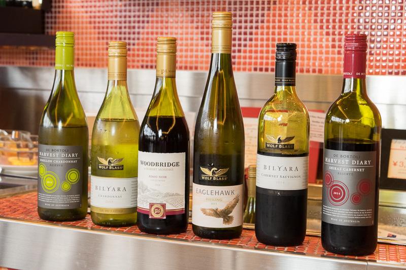 アルコール飲み放題で選べるワイン。今回のイタリア料理はワインと相性がいいので、ぜひ一緒に楽しんでほしい