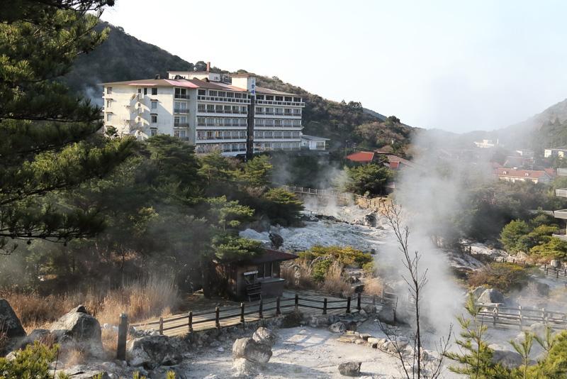 今回宿泊した雲仙宮崎旅館の日本庭園にも温泉が湧き出ています