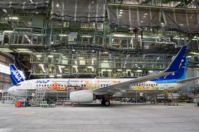 伊丹空港に隣接するMRO Japanの第2格納庫でデカール貼り付け作業中の「東北 FLOWER JET」