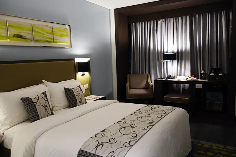 泊まったお部屋はダブルベッドルーム。シックで落ち着くインテリアでした