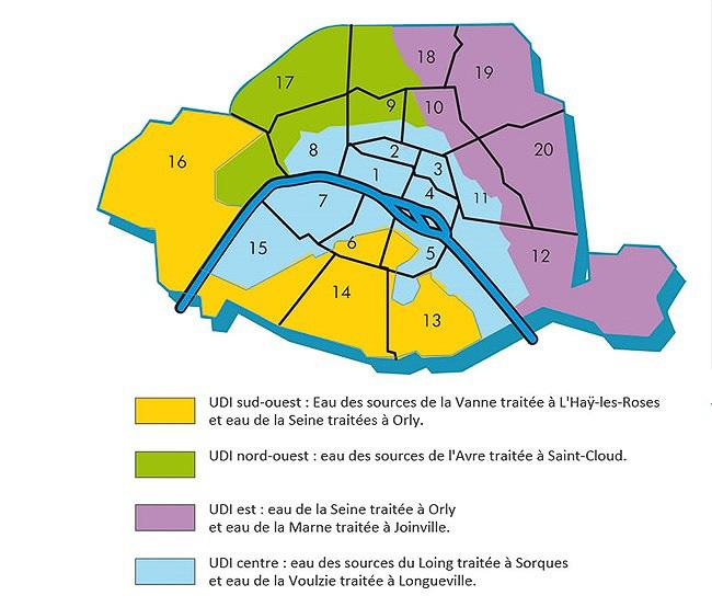 パリ市内の水源は4つに分かれています(パリの水道業務を行なうEau de Parisより)