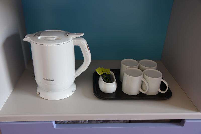 到着してほっと一息つきたいときは、備え付けの煎茶を