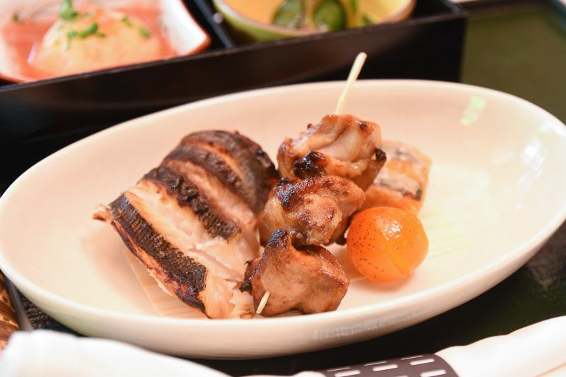 主菜の「徳島産イサギの酒盗焼」「阿波尾鶏の山椒焼 南瓜白扇揚」「金柑甘露煮」