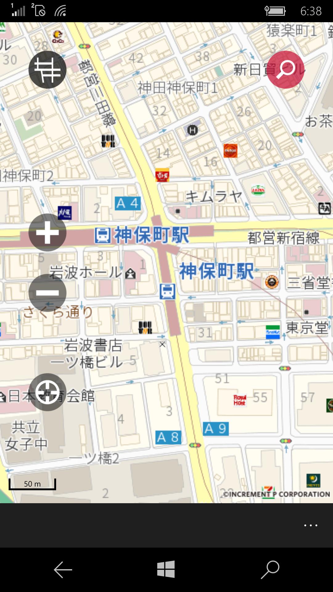 地図の向きは変更できないが、建物や一方通行などもひと目で確認できる