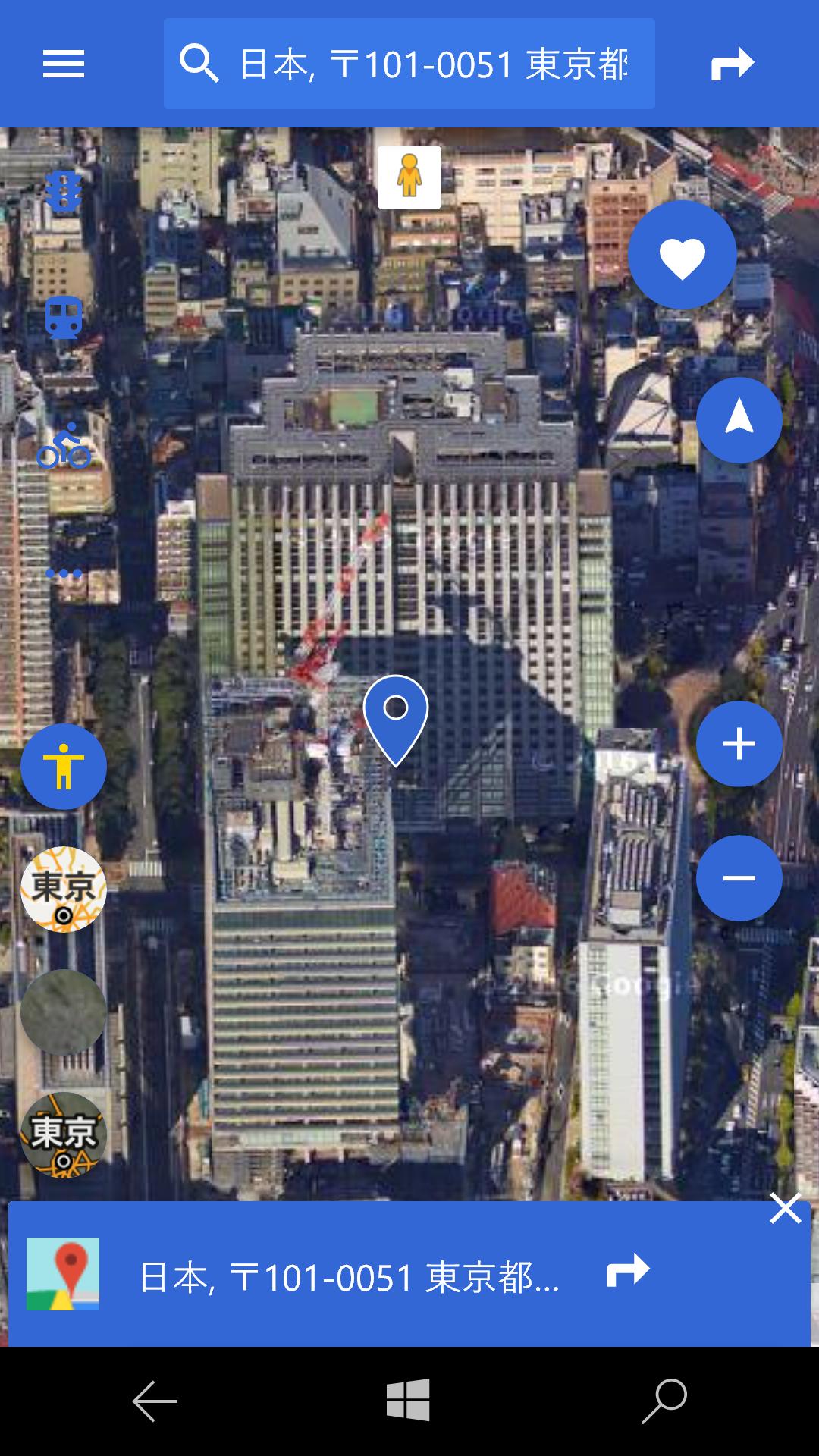 サテライトビューにも切り替えられる。ただし、「MapFan」と同じく地図の向きは変更できなかった
