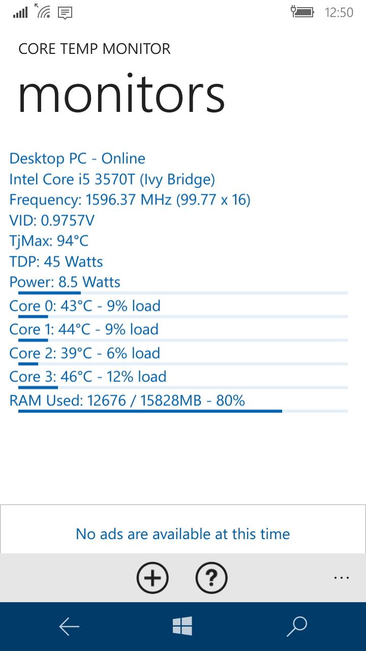 Windows Phone版「Core Temp Monitor」