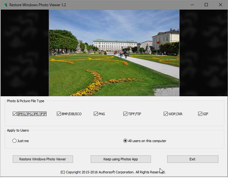 「Restore Windows Photo Viewer」v1.2