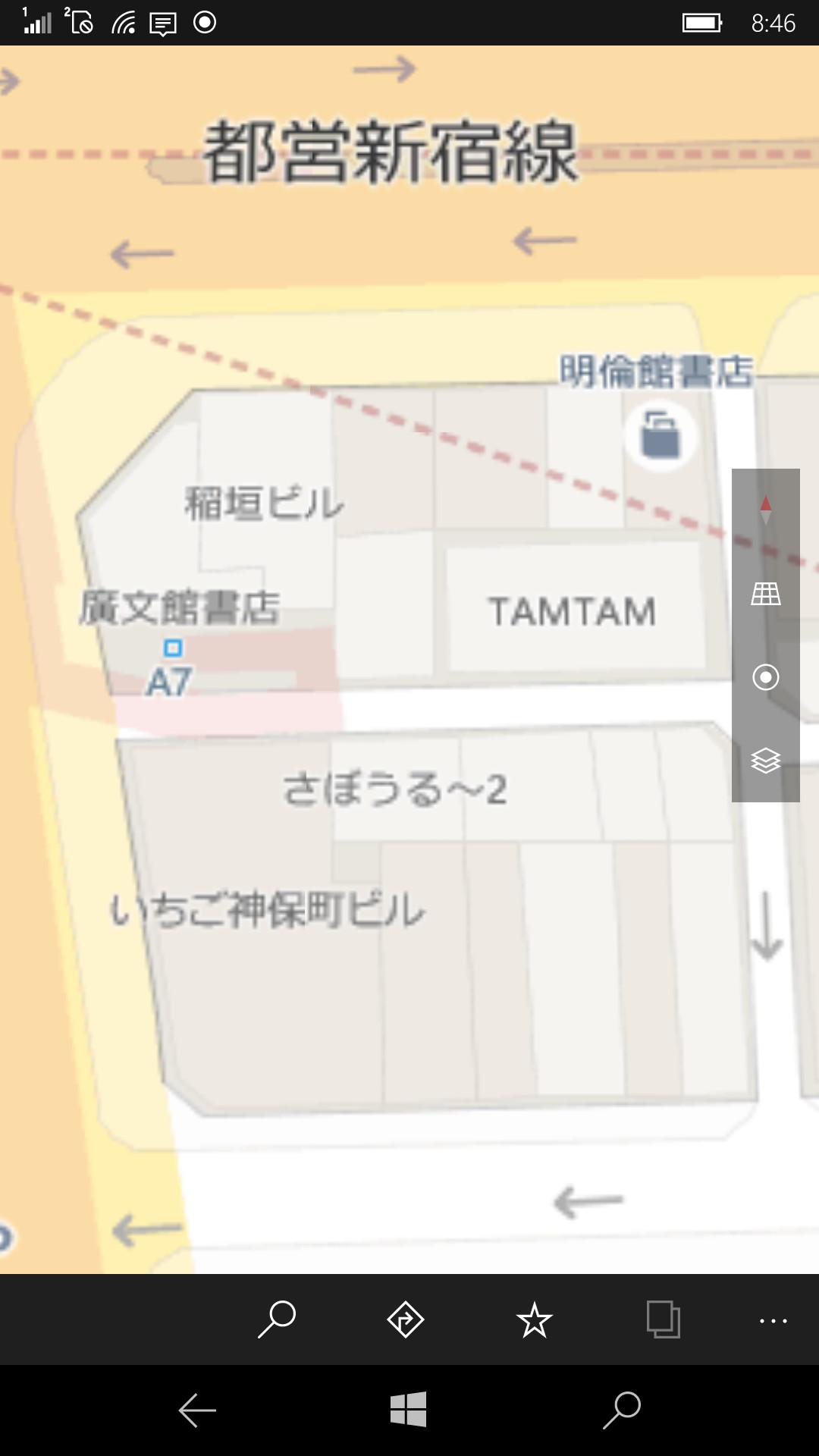編集部のある神保町周辺を最大限に拡大した状態。書店名や喫茶店の名前なども表示されるため、道に迷った時もひと目でわかる