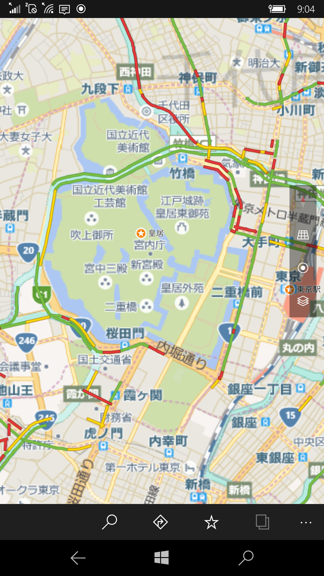 こちらは都内の混雑状況を示した状態。皇居周辺は全般的に混雑している