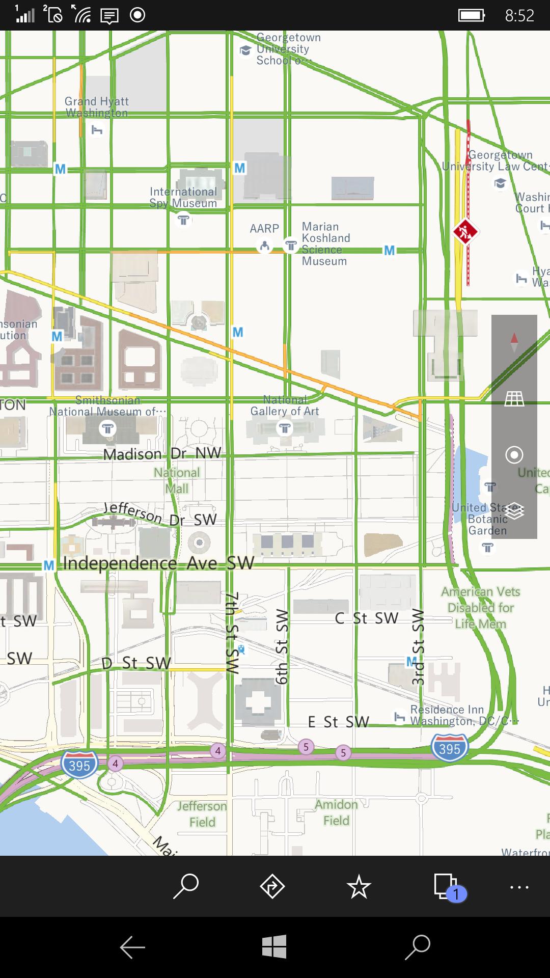 こちらは米国ワシントンDC周辺の交通情報を表示させた状態。右上の辺りで工事が行われていることが示されている