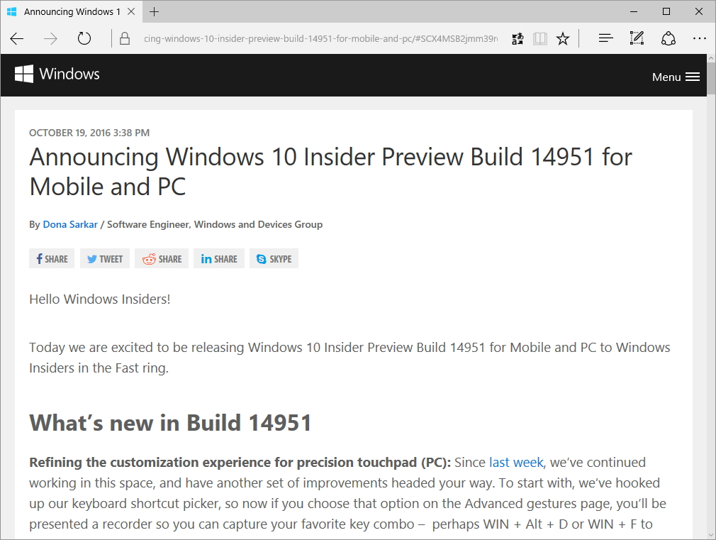 「Windows 10 Insider Preview」Build 14951のリリースをアナウンスする公式ブログ