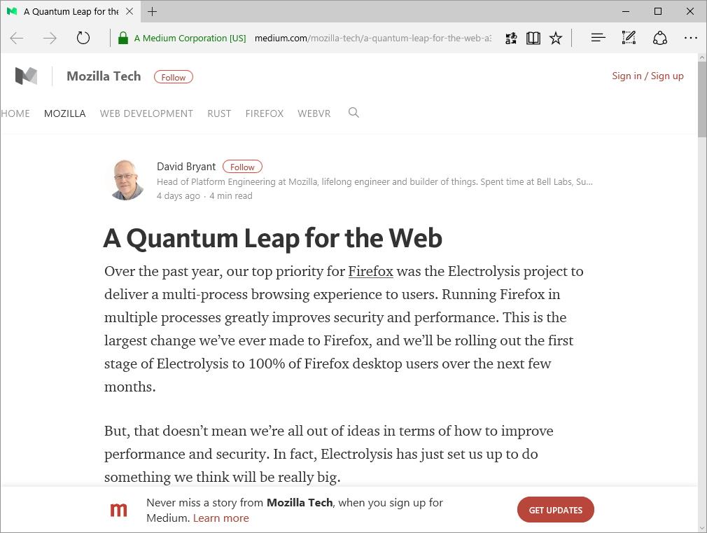 "Mozilla、""Quantum""プロジェクトを発表"