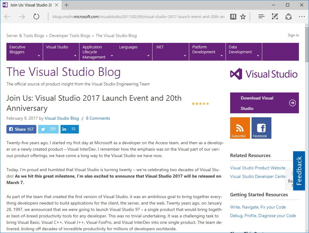 "The Visual Studio Blog"""