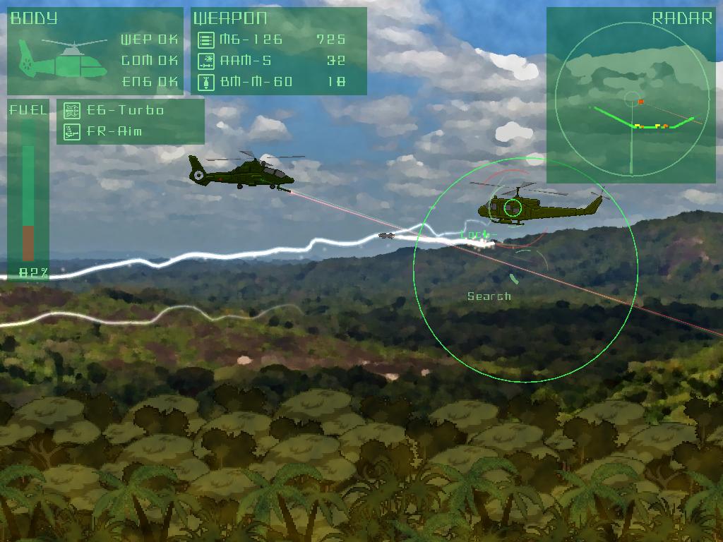 ミサイルは緑色の円形をしたサイトに敵を入れるとロックオン。ボタンを離すとミサイルが発射される