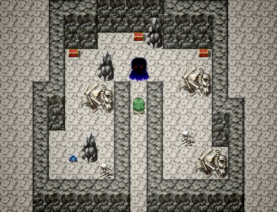 """強力なボスの先には稀少なお宝が。なお画面左下にある青い鉱石は""""レアメタル""""で、武器をアップグレードする材料となる"""