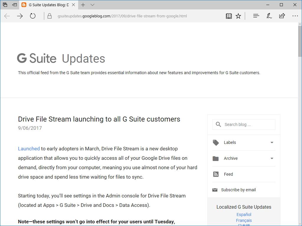 """公式ブログ""""G Suite Updates Blog"""""""