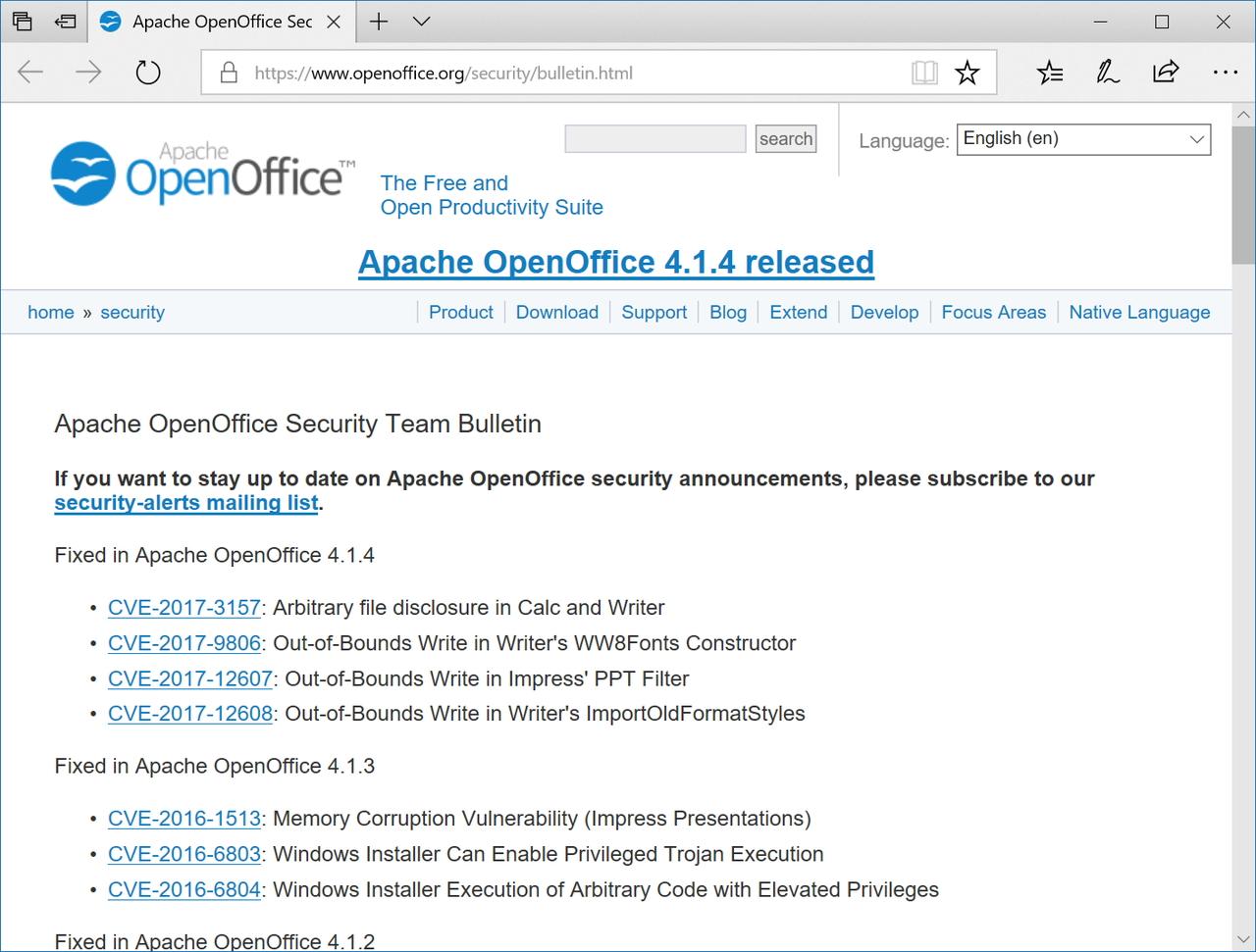 「Apache OpenOffice」のセキュリティ情報ページ