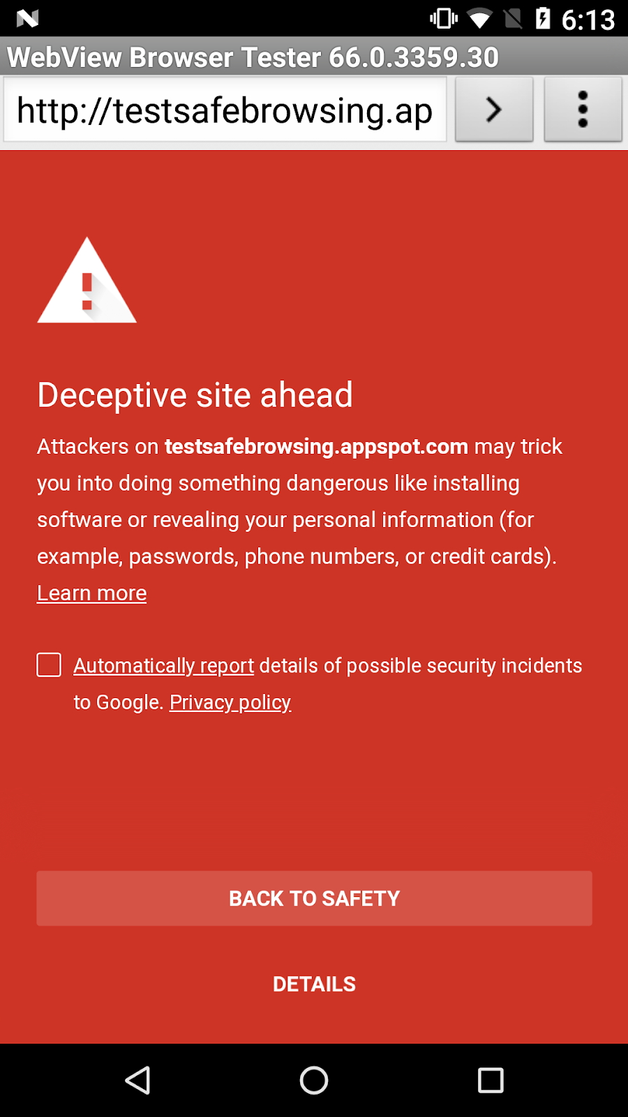 """Google Safe Browsing(セーフ ブラウジング)""による警告(同社サイトより引用)"