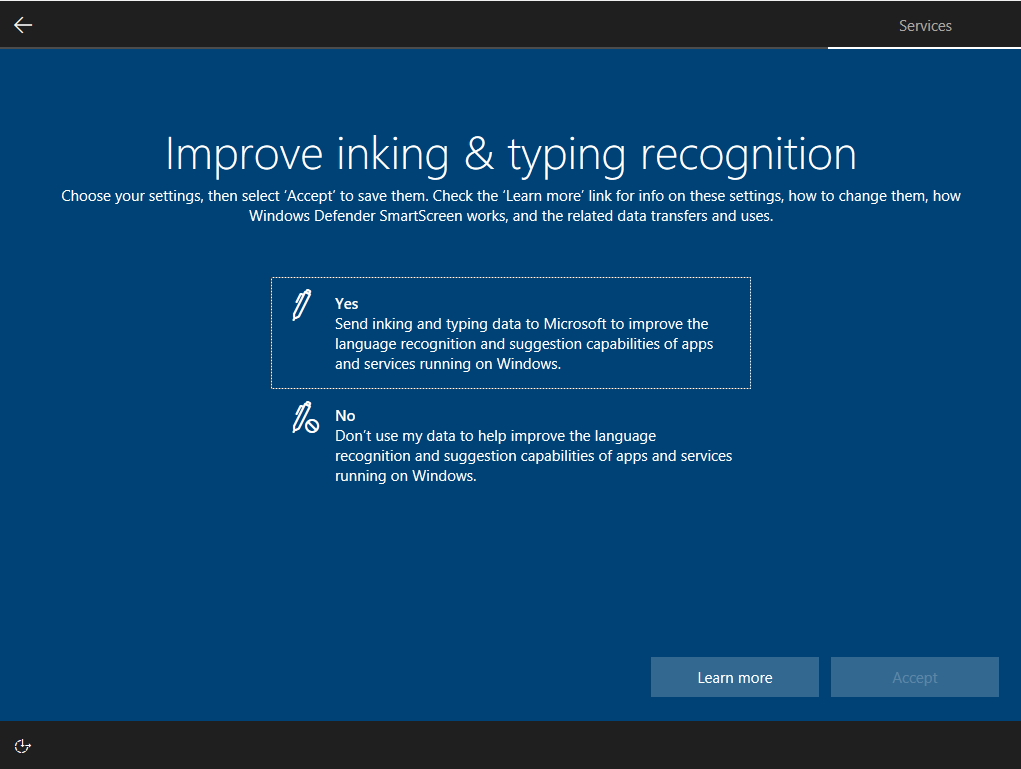 OOBE(OSのセットアップ)のプライバシー設定に2つの新しいオプションが追加される