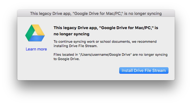 シャットダウン後も古い「Google ドライブ」アプリを利用していると表示される警告ダイアログ