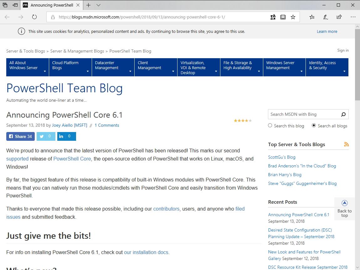 """公式ブログ""""PowerShell Team Blog"""""""
