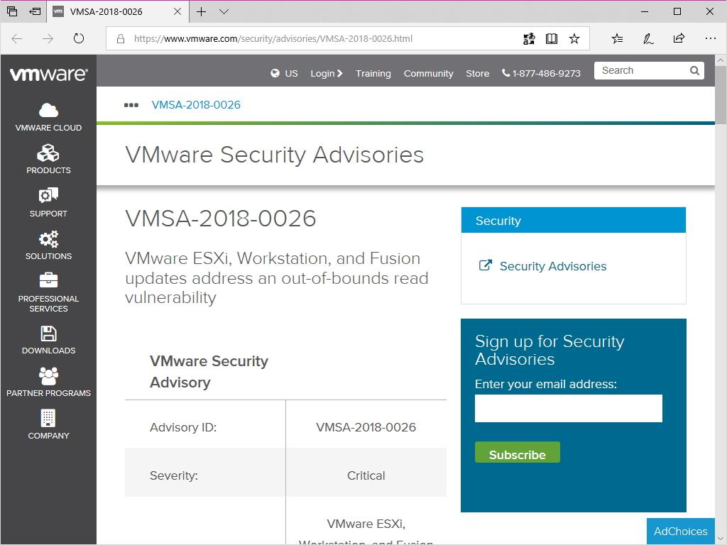 同社のセキュリティ情報(VMSA-2018-0026)