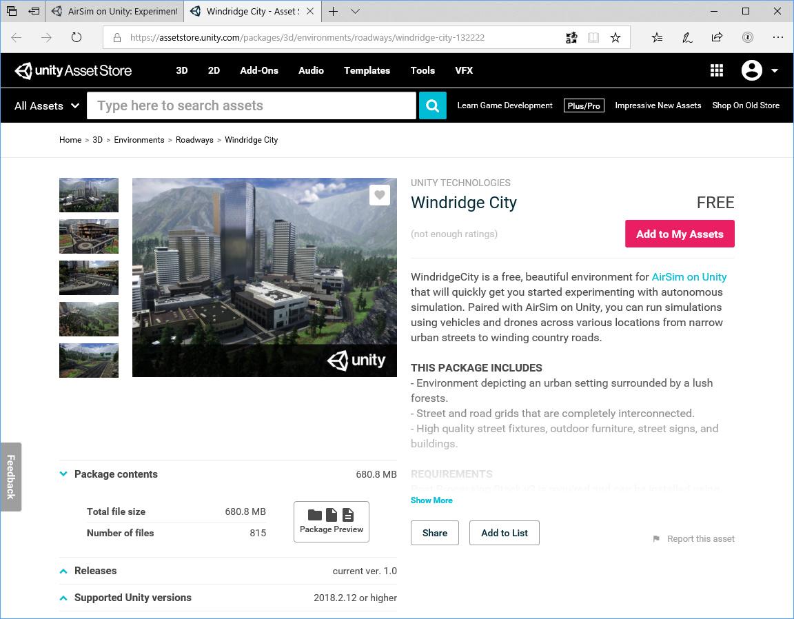 「AirSim on Unity」を手軽に体験できる無償アセット「Windridge City」