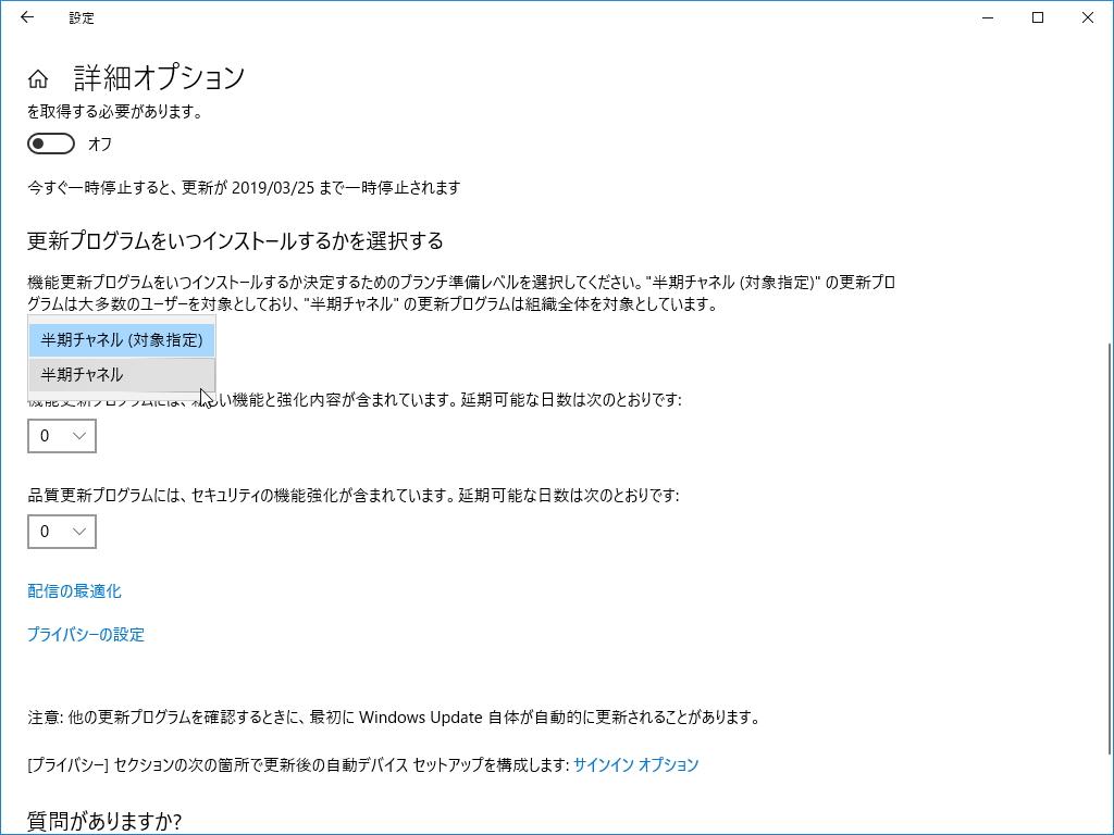 "「Windows 10 バージョン 1809」における""Windows Update""の詳細オプション"