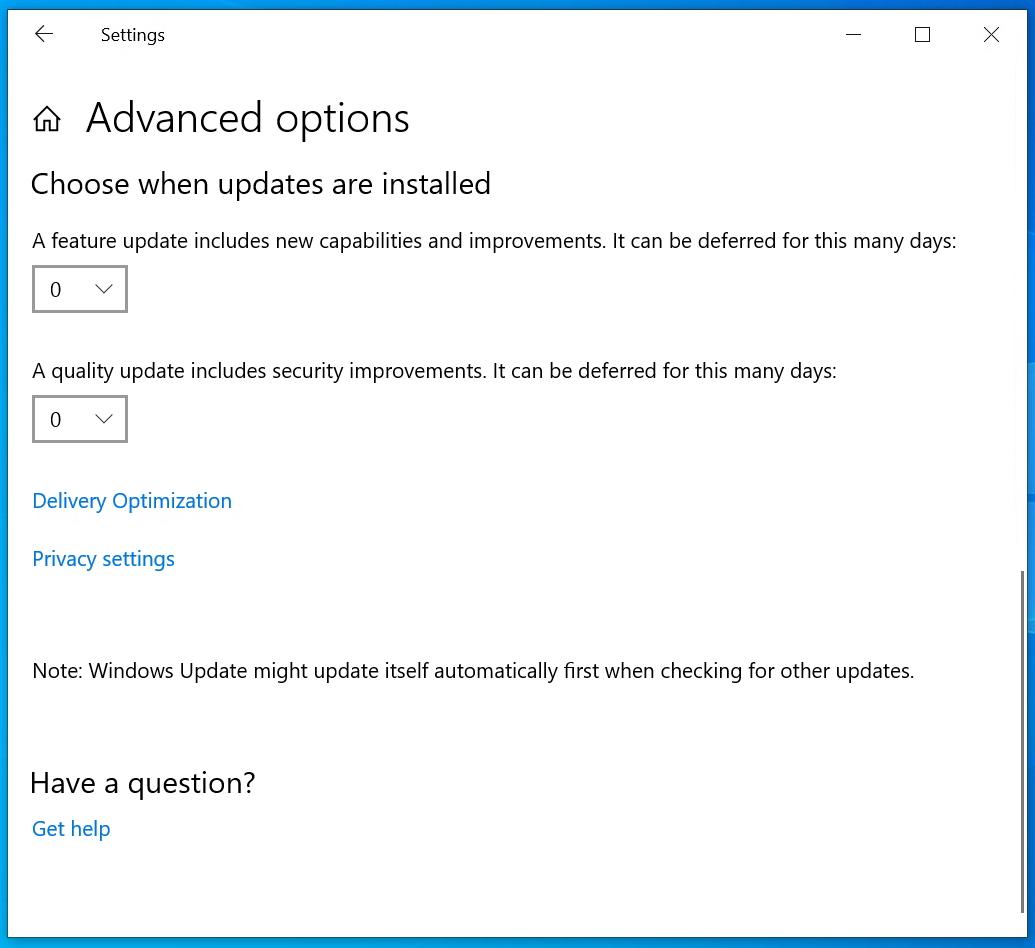 "「Windows 10 バージョン 1903」における""Windows Update""の詳細オプション"