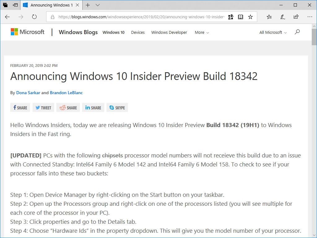"Microsoft、「Windows 10 19H1」Build 18342を""Windows Insider Program""の""Fast""リング参加ユーザー向けに公開"