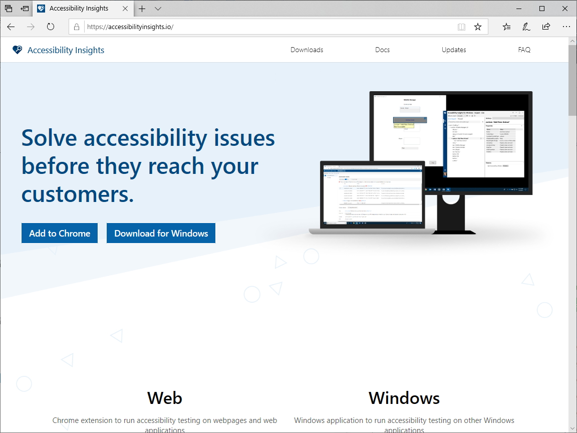 「Accessibility Insights」の公式サイト