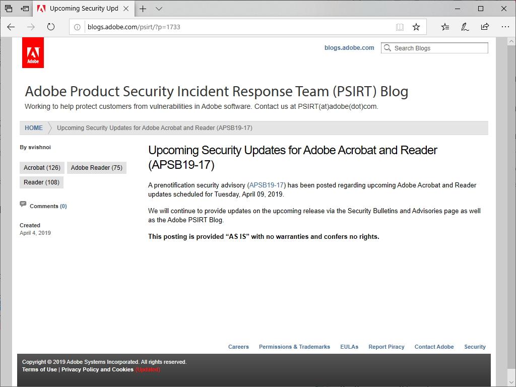 セキュリティアップデートを予告したブログ記事