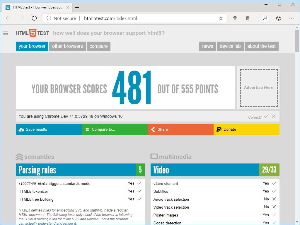 """新しい「Microsoft Edge」の""""HTML5test""""スコアは""""481"""""""