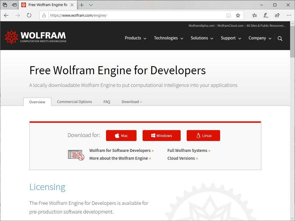 """""""Free Wolfram Engine for Developers"""""""