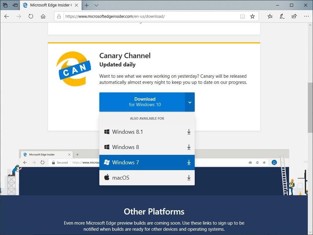 """""""Microsoft Edge Insider""""から""""Canary""""ビルドをダウンロード可能"""