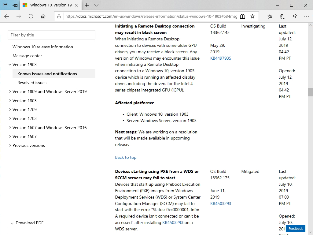 「Windows 10 May 2019 Update」のリモートデスクトップ接続にブラックスクリーン問題