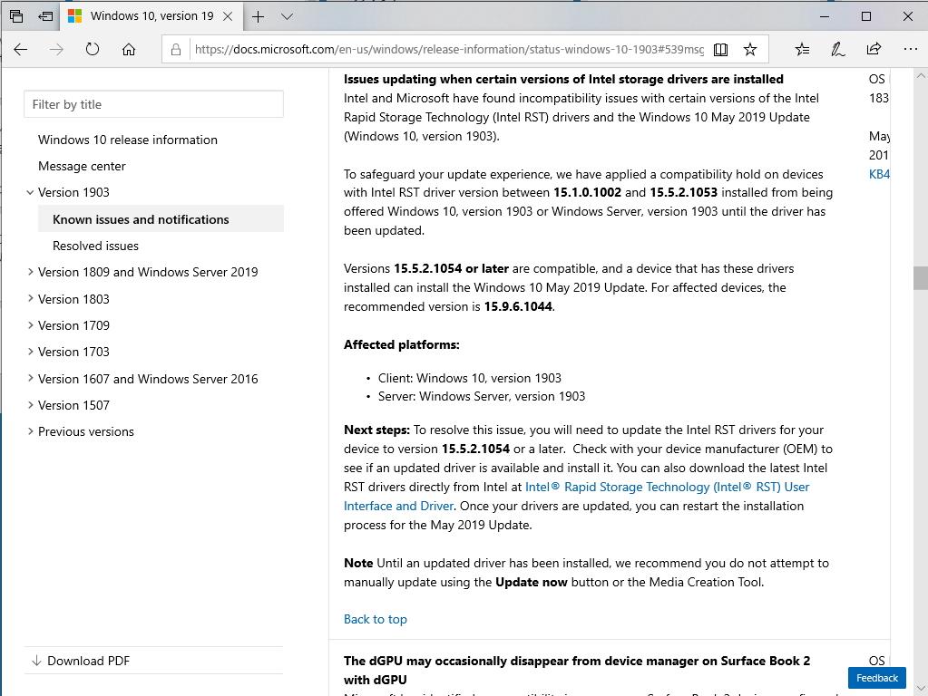 Intelの古いストレージドライバーは「Windows 10 May 2019 Update」と非互換