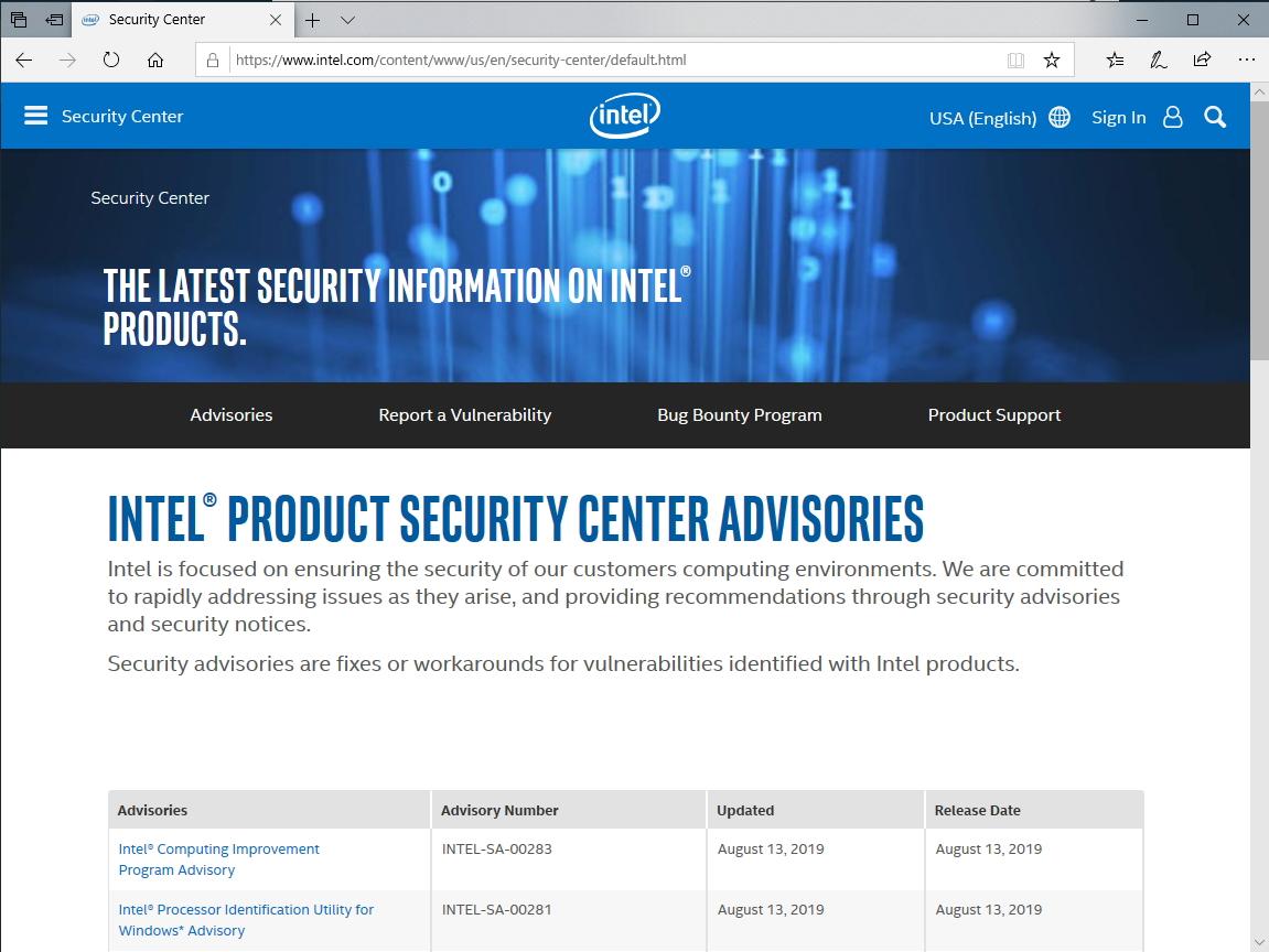 Intel製品に複数の脆弱性、セキュリティアドバイザリが公開