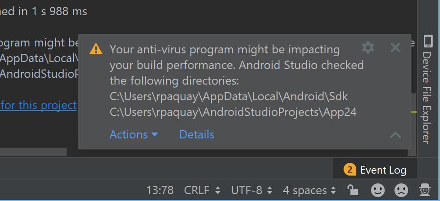 Windows版ではウイルススキャンの除外指定を提案する機能を導入