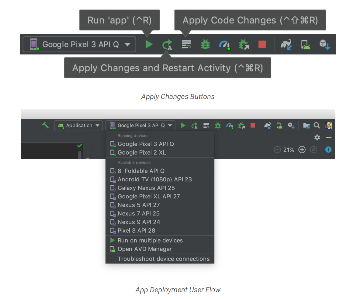 """""""Instant Run""""に代わり""""Apply Changes""""を導入。ツールバーやボタンを工夫して使い勝手を改善"""