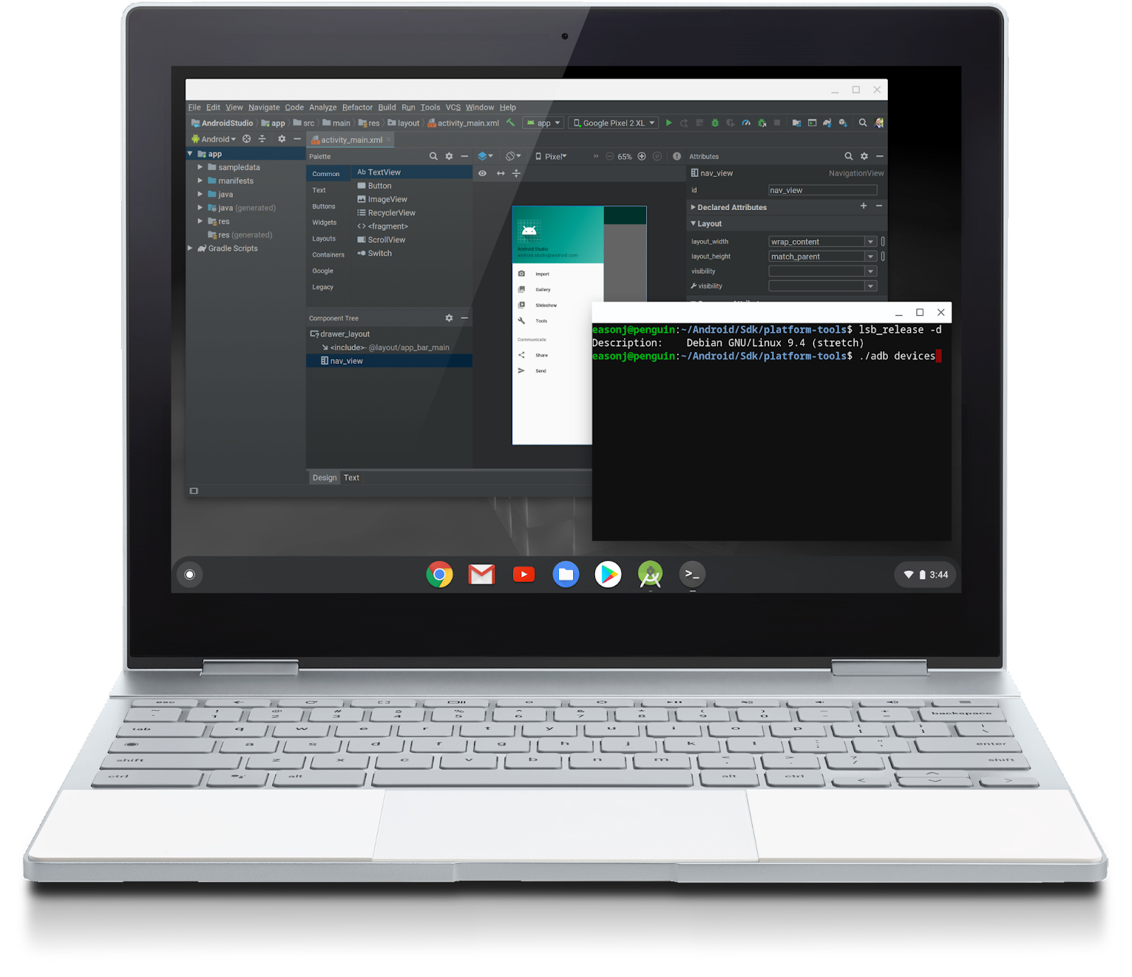 Chrome OSで動作する「Android Studio」