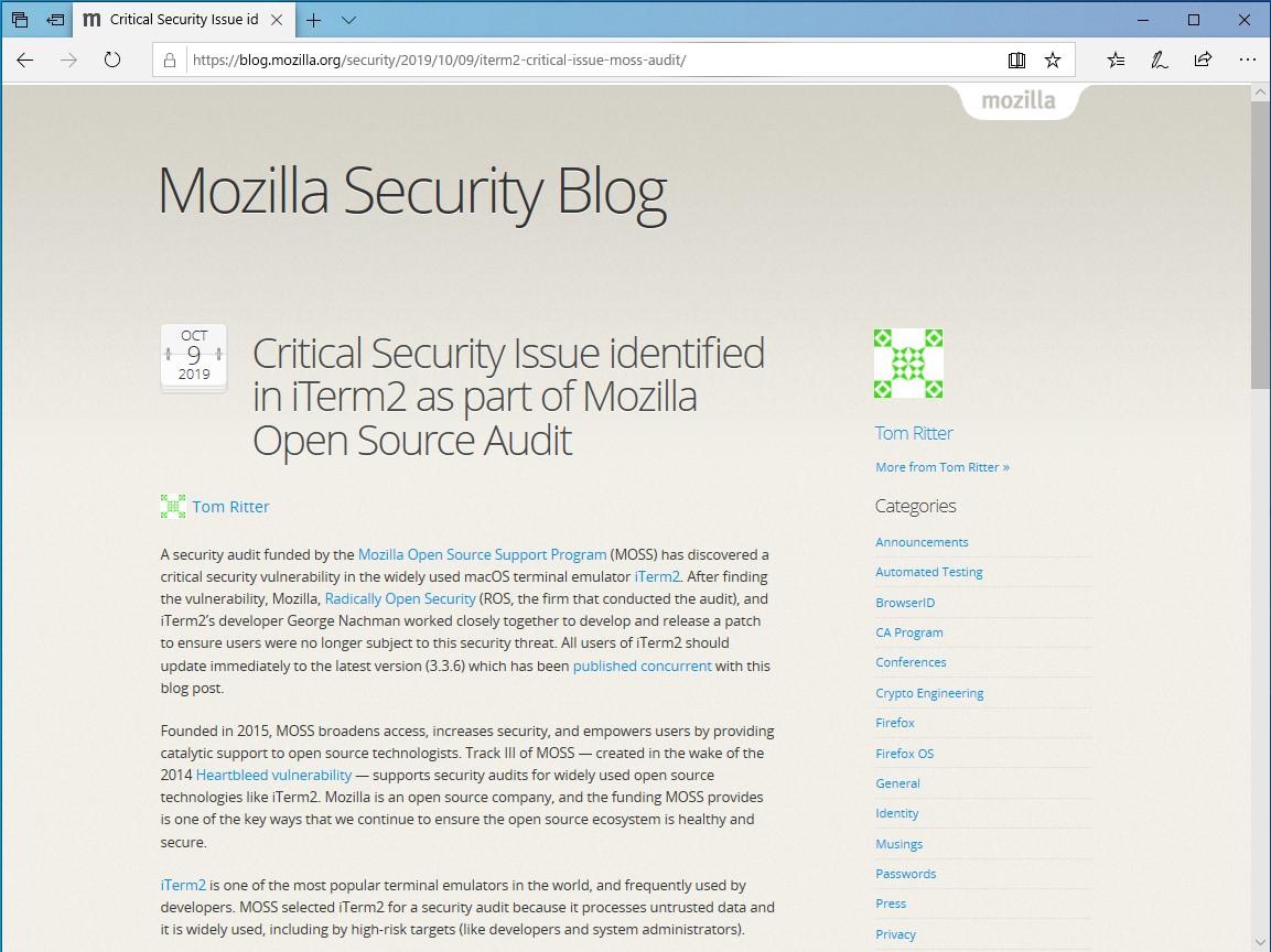 """公式ブログ""""Mozilla Security Blog"""""""