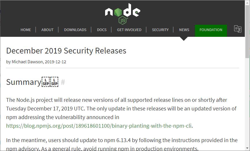 「Node.js」に「npm」由来の脆弱性、修正版のリリースを予告