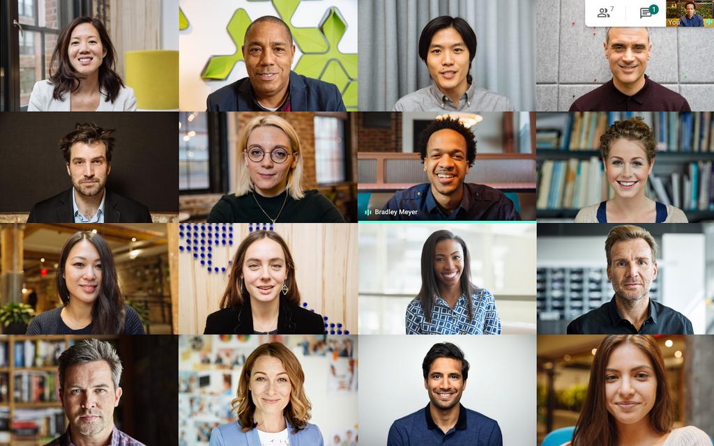 「Google Meet」でミーティング参加者を最大16名、タイル表示可能に