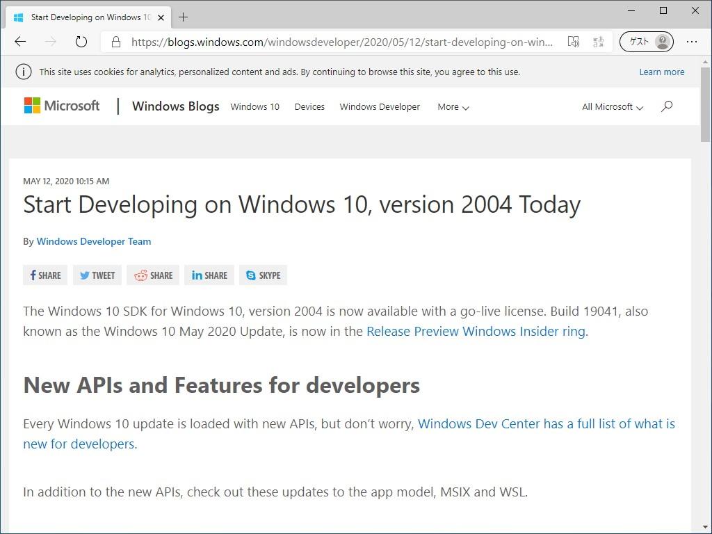 """""""Windows Developer Blog""""のリリース"""