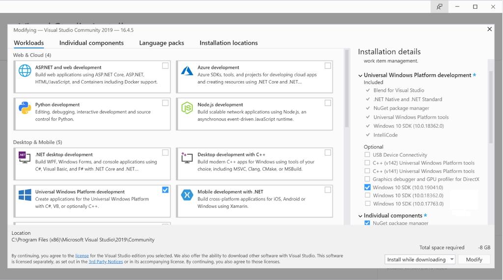 SDKは「Visual Studio」のインストーラーからセットアップできる